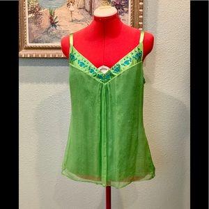 Laundry by Shelli Segal green silk blouse sz Med.